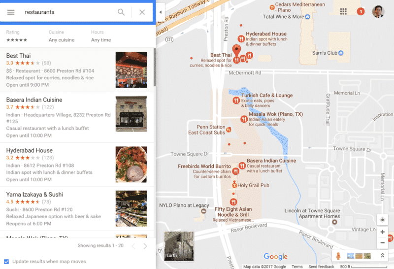 ristoranti su google local