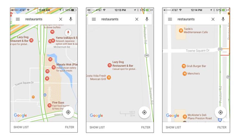 ricerca mobile di ristoranti su mappa