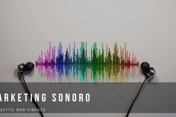 Una sound wave colore arcobaleno con su scritto marketing sonoro